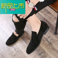 新品上市韩版潮流休闲小皮鞋男士英伦一脚蹬懒人百搭潮鞋社会小伙尖头男鞋