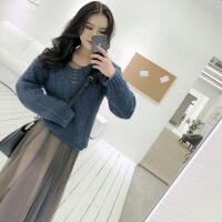 2019新款秋冬装女新款通勤港味气质长袖毛衣针织衫两件套装网纱连衣裙 上衣+裙子