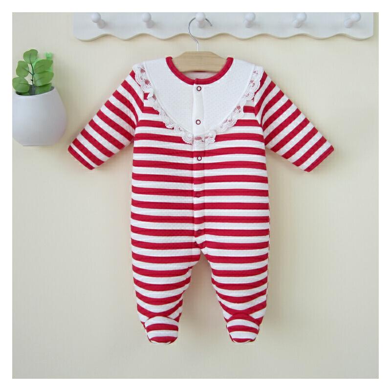 女宝宝连体衣秋冬装包脚婴儿冬装保暖哈衣新生儿衣服爬服0-3个月6