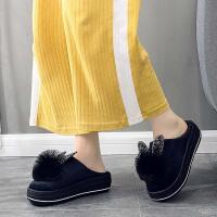 厚底棉拖鞋女冬季可爱毛绒室内家用防水居家保暖防滑增高新款