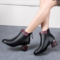 2018秋冬季新款女士短靴马丁靴加绒保暖粗跟女鞋子高跟休闲女靴子 黑色