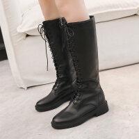 秋冬新款皮靴女靴韩版平底加绒高筒弹力靴长筒不过膝靴
