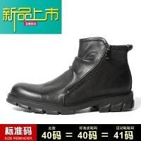 新品上市冬季加绒真皮短靴男皮靴潮流中帮英伦风马丁靴子男高帮皮鞋