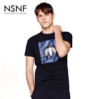 NSNF动漫人物印花黑色纯棉圆领短袖T恤男款 2017夏季男装新品 修身圆领针织短袖
