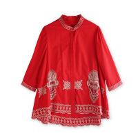 改良年轻旗袍夏季新款女士时尚中国风中袖衬衫宽松款刺绣上衣 红色 X