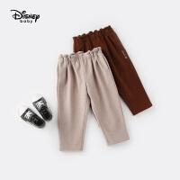 迪士尼童装女童裤子秋冬新款儿童加绒直筒裤长裤宝宝休闲小脚裤