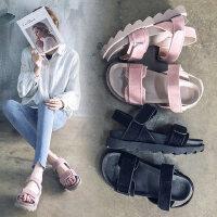 韩版百搭学生女士凉鞋 新款晚晚风平底粉色凉鞋 女中跟厚底罗马沙滩鞋