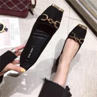 时尚休闲韩版女士单鞋春季新款浅口方头舒适百搭女鞋黑