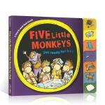 英文原版 Five Little Monkeys get ready for bed 五只猴子准备睡觉 纸板书 启蒙早