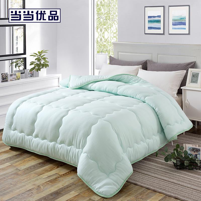 当当优品超细纤维被 双层纱羽丝绒冬被春秋被芯 双人被子200*230cm 绿色