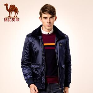 骆驼男装 新品秋款青年翻领拉链商务休闲光滑纯色外套棉服男