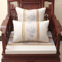 中式古典家具椅垫带靠背实木抱枕靠垫高密度海绵定做z定制 浅灰色 马兰花