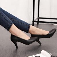 细跟单根5cm鞋子职业高跟鞋单鞋黑色春夏季女皮鞋上班工作潮