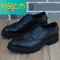 新品上市韩版尖头皮鞋男士英伦商务休闲皮鞋内增高雕花男鞋真皮厚底男皮鞋