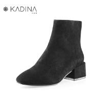 卡迪娜冬季款羊反绒面革牛皮革粗跟复古港风矮靴KLA80212