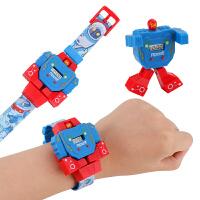 儿童变形电子手表刚玩具小男孩男生女孩卡通动漫变身机器人c