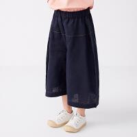 【秒杀价:129元】马拉丁童装女大童裤子2020夏装新款洋气宽松阔腿裤棉布中裤