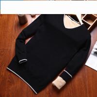 韩版男士针织衫外套新款 套头毛衣纯色加绒加厚线衣