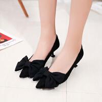 单鞋尖头女低跟3cm细跟猫跟鞋小根蝴蝶结方扣绒面高跟鞋工作职业