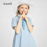 【2件4折价:119.6】安奈儿童装女童短袖连衣裙2021夏新款时髦女孩休闲裙子宽松伞裙薄