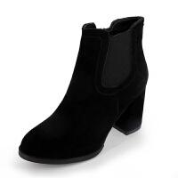 2019新款粗跟短靴女绒面尖头高跟瘦瘦靴短筒裸靴子女