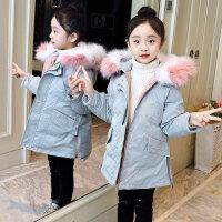 儿童棉服 女童中长款棉服2019新款女孩韩版洋气保暖收腰棉衣中大童加厚燕尾外套