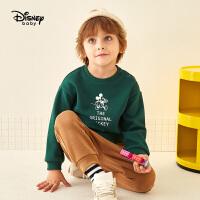 迪士尼童装男童套装加绒2019秋冬新款米奇卡通儿童卫衣长裤两件套