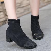 短靴女冬2018新款加绒网红瘦瘦靴复古百搭短筒方头粗跟马丁靴女靴