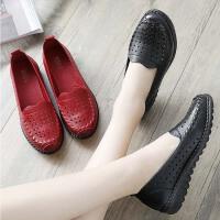 妈妈鞋夏季中年软底舒适平底老人单鞋中老年人女鞋防滑奶奶皮鞋子