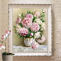 印花十字绣客厅新款牡丹花百合花瓶小幅卧室简约现代线绣玫瑰花