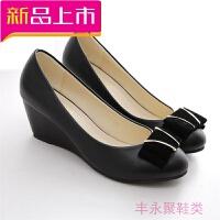 秋女新款坡跟单鞋女夏中跟黑色皮鞋四季鞋职业平底女鞋