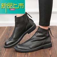 新品上市冬季男靴中帮马丁靴男英伦真皮时尚靴子欧美圆头拉链皮靴靴