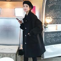 安妮纯秋冬2020新款韩版呢大衣小个子宽松中长款百搭加厚黑色毛呢外套女