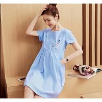 孕妇装裙子2018新款夏装时尚可爱孕妈棉连衣裙中长款韩版上衣