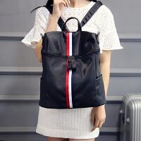 潮流韩版大容量撞色彩条尼龙双肩包女包学生书包休闲旅行背包 白色 白撞红