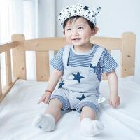 婴儿衣服背带裤短袖套装夏季01岁男宝宝两件套新生幼儿上衣潮