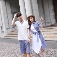 情侣装夏装短袖T恤POLO领宽松不一样的韩版海边度假条纹女连衣裙 白蓝色