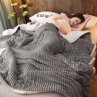 冬季珊瑚绒毯子 加厚三层毛毯被子珊瑚绒毯双层法兰绒冬季用保暖小午睡毯子女床单定制 魔法绒 -银灰 三层复合毯- 180