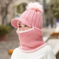 毛线帽子女秋冬天韩版潮针织保暖帽遮脸护脖骑车防风护耳帽连体帽