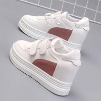 小白鞋女板鞋内增高8CM白鞋子街拍学生女鞋秋冬棉鞋女厚底魔术贴