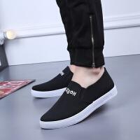 春夏新款男士帆布鞋韩版一脚蹬男鞋鞋懒人鞋牛筋底学生鞋