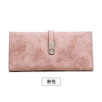钱包女长款薄学生简约韩版新款复古磨砂软皮搭扣两折钱夹