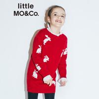 【折后价:268】littlemoco女童冬装纯羊毛兔子图案中长款长袖毛织连衣裙女童裙子
