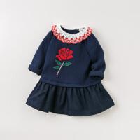 [2件3折价:119.1]davebella戴维贝拉童装春季新款女童连衣裙宝宝针织裙子DB11653