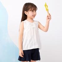 【1件秒杀价:136】马拉丁童装女大童衬衫2020夏装新款宽松版型抽褶白色短袖衬衫