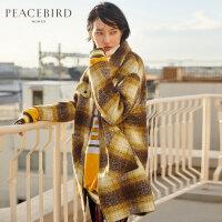 撞色格纹毛呢大衣女中长款韩版春装2019新款翻领口袋设计羊毛大衣