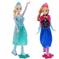 迪士尼公主娃娃女孩玩具冰雪奇缘之冰上艾莎 安娜