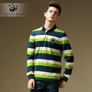 熊猫男装 秋季新款长袖t恤 男士条纹直筒棉T恤 日常休闲上衣