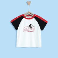 【99元3件】迪士尼宝宝快乐星球男童针织运动插肩短袖T恤夏季新品本白