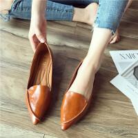 尖头单鞋女2018秋季新款时尚软皮舒适套脚尖头软底小单鞋休闲鞋女